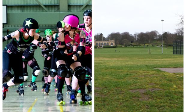 Growing sport roller derby (left) could be played on the proposed site at Baxter Park (right)