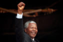President, Nelson Mandela, acknowledging the crowd at a rally in Glasgow after he had earlier received the Freedom of the City.