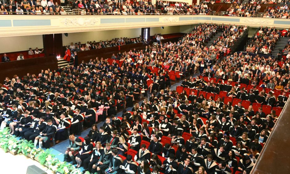 Students in the Caird Hall for the second day of the University of Dundee graduation ceremony. Picture by Dougie Nicolson / DCT Media