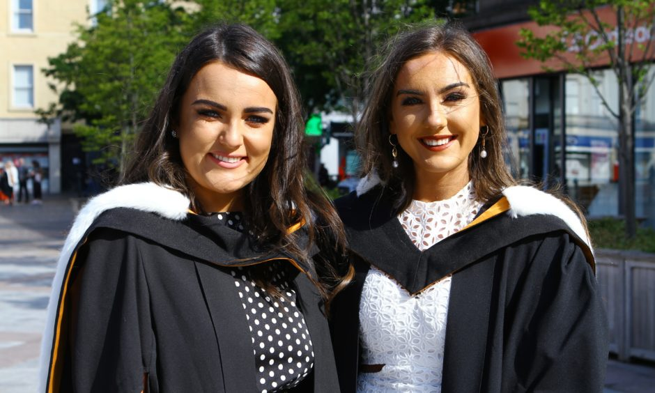 Law graduates Sarah Patterson and Emma Finnegan in the City Square. Picture by Dougie Nicolson / DCT Media.