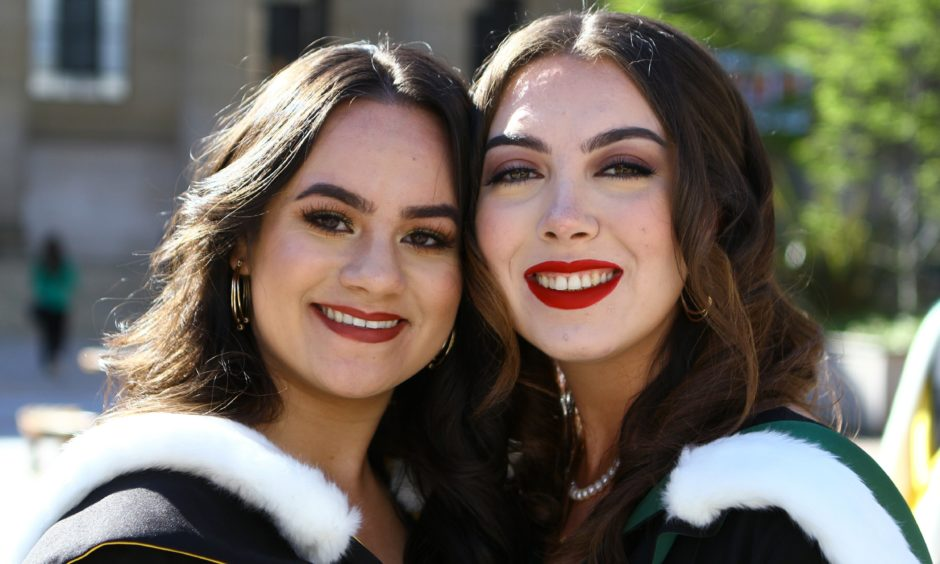 Haniah Sindhoo, left, who graduated in Life Sciences, and Rebekah Beck, who graduated in Social Work.