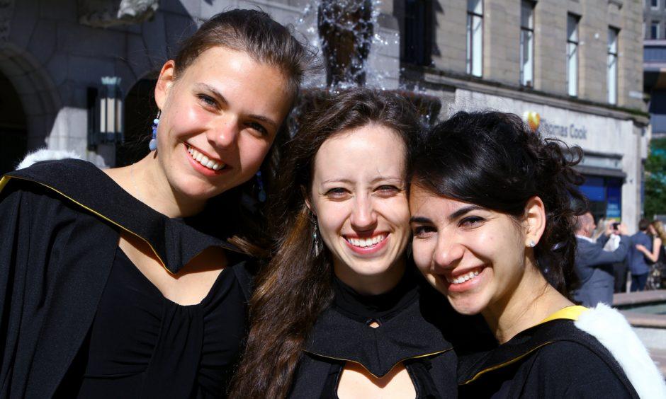 Caroline Faessler, Marketa Novotna and Elmira Ahmedova, who all graduated in Life Sciences.
