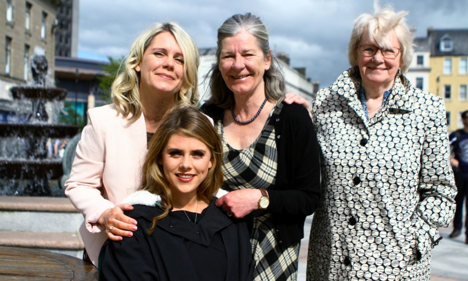 Four generations, Nicole Marra who graduated in Social Work, with (BACK L/R) her mum, Melanie Marra, her gran Colleen Robertson, and her great gran Betty Gray, all of whom also graduated from Dundee University.