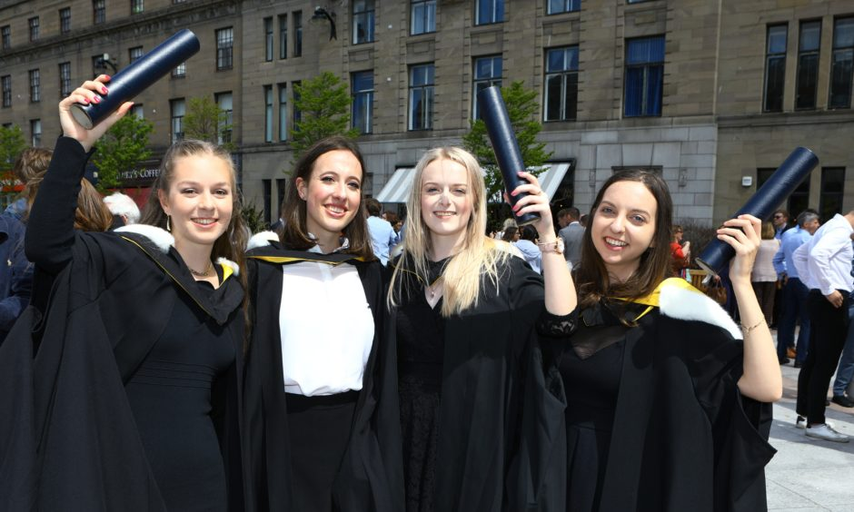 Abigail Brewer, Eve Ireland, Sarah Lindsay and Beth MacLeod, who all graduated in Life Sciences.