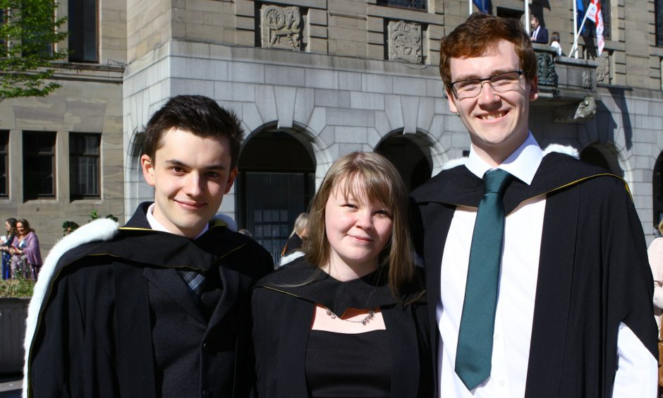 Biology graduates Ross McKellar, Hayley Shaw and Peter Young.