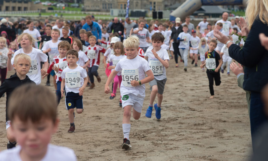 Action from the junior race.