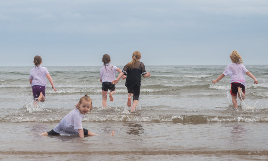 A much-needed cool down in the sea!