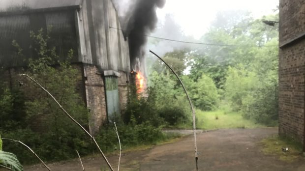 The former paper plant was on fire.