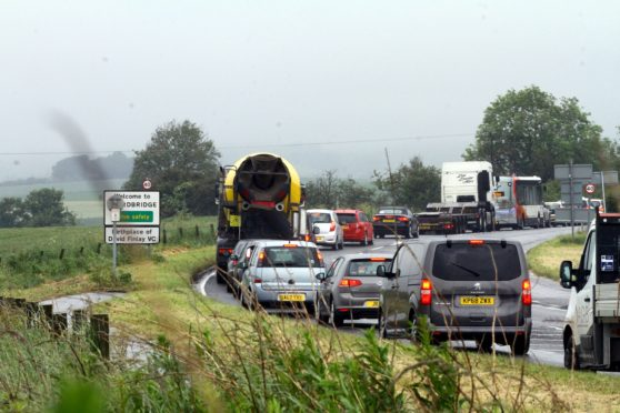 Drivers have suffered lengthy delays at Guardbridge.