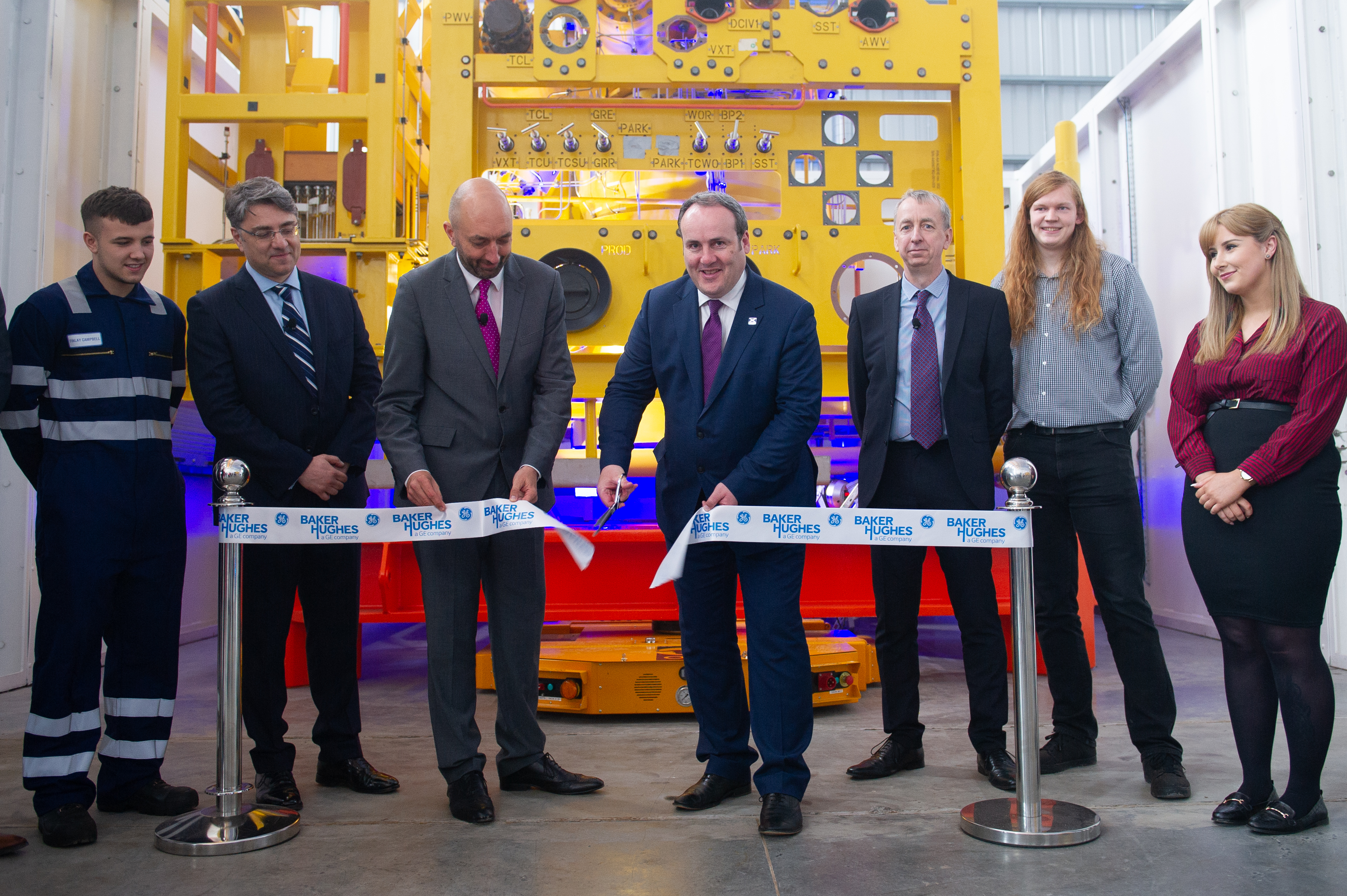 The opening of the  new BHGE Montrose Subsea Centre of Excellence in 2019 with - l to r - Lorenzo Romagnoli Global Supply Chain Director, SPS & Services, BHGE Oilfield Equipment), Neil Saunders (President and CEO, BHGE Oilfield Equipment), Paul Wheelhouse (Minister for Energy, Connectivity and the Islands) and John Kerr (VP and Chief Technology Officer, BHGE Oilfield Equipment).
