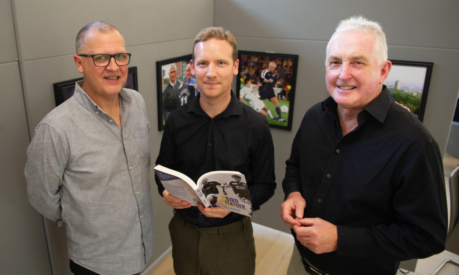 Official launch of new DCT heritage book, The Bird & The Feather by Courier journalist, Graeme Strachan. Picture Shows;  Tom Duthie, Graeme Strachan and Craig Millar.  Pic by Kim Cessford / DCT Media
