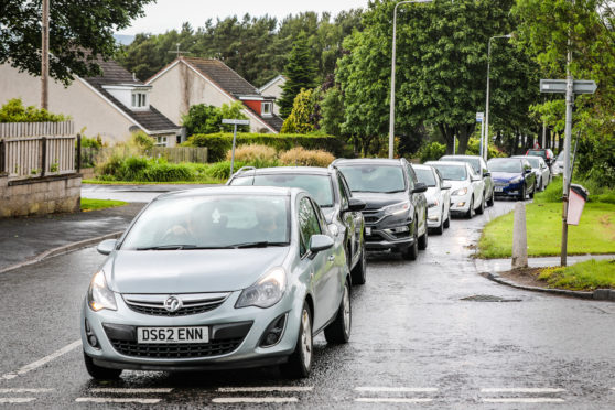 Queuing traffic on Balgillo Road
