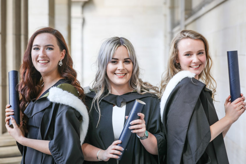Sophie McCaffrey, Jade McDiarmid and Victoria Potts, Textile Design students after the ceremony.