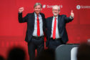 Labour leader Jeremy Corbyn (right) with Richard Leonard at the second day of the Scottish Labour conference in Dundee.
