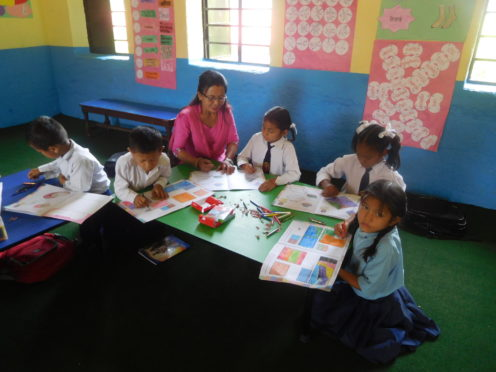 Children enjoying their lessons in the Syangja Project.