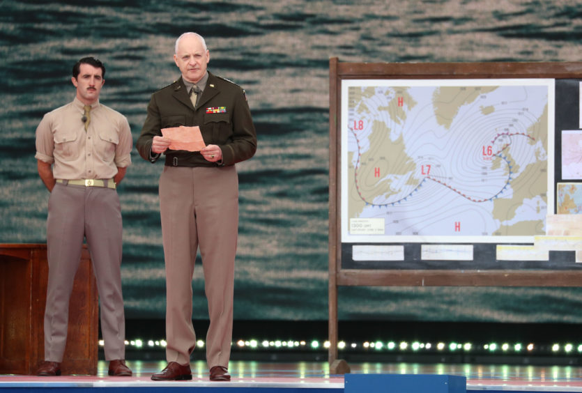 Actors performing, 'Pressure' by David Haig. The play centres on the true story of James Stagg and Operation Overlord, in particular the weather-forecasting for the D-Day landings and the resultant tensions between Dwight D. Eisenhower, James Stagg and Irving P. Krick.