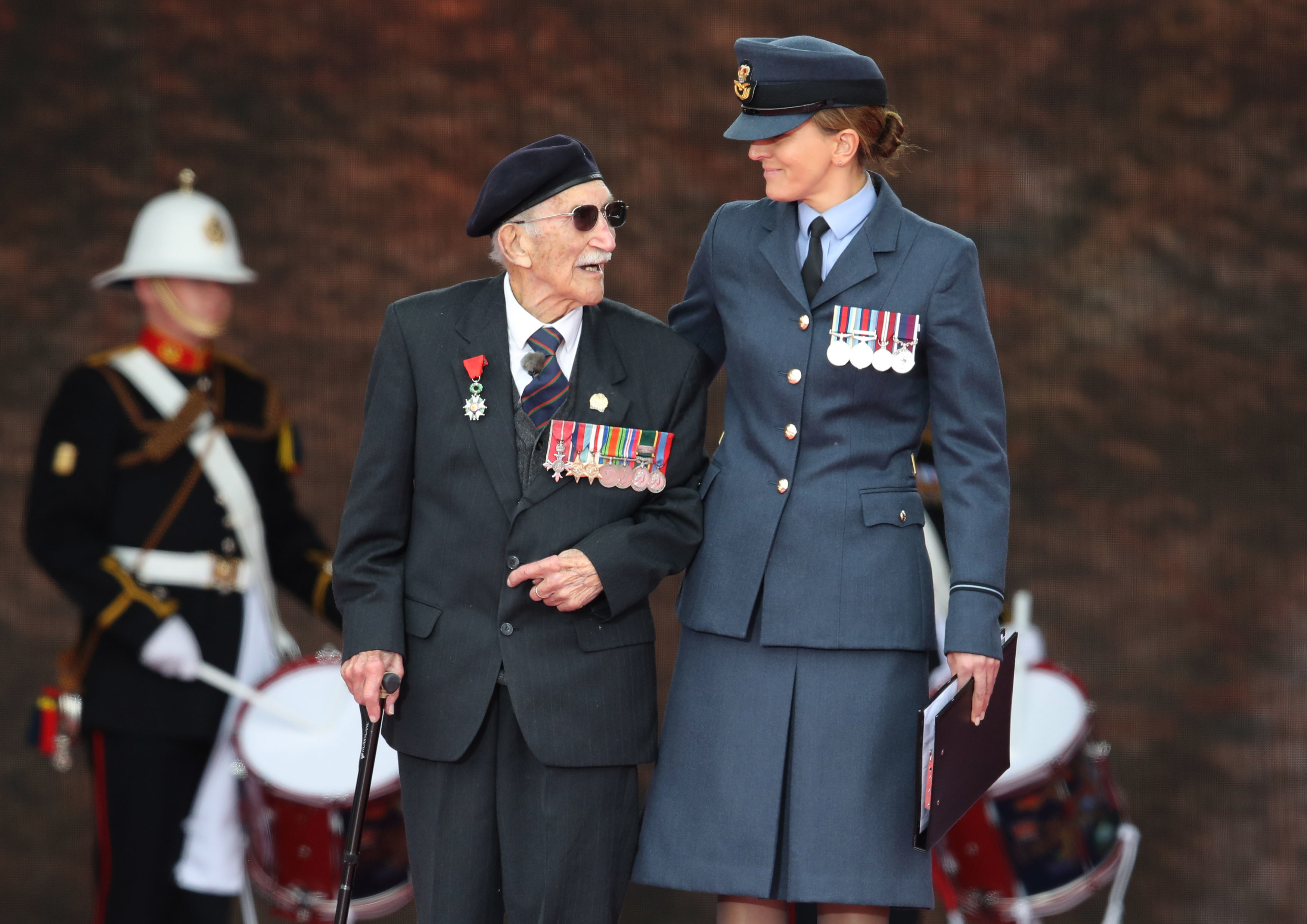 D-Day veteran John Jenkins, 99, pictured onstage.