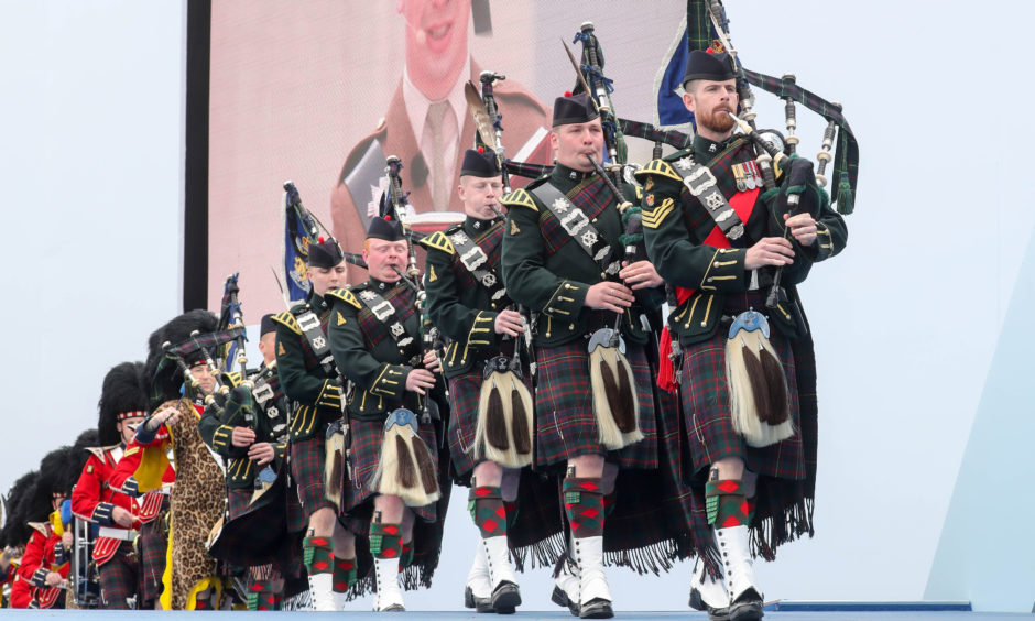 Pipers of the 4th battalion Royal regiment of Scotland performing.
