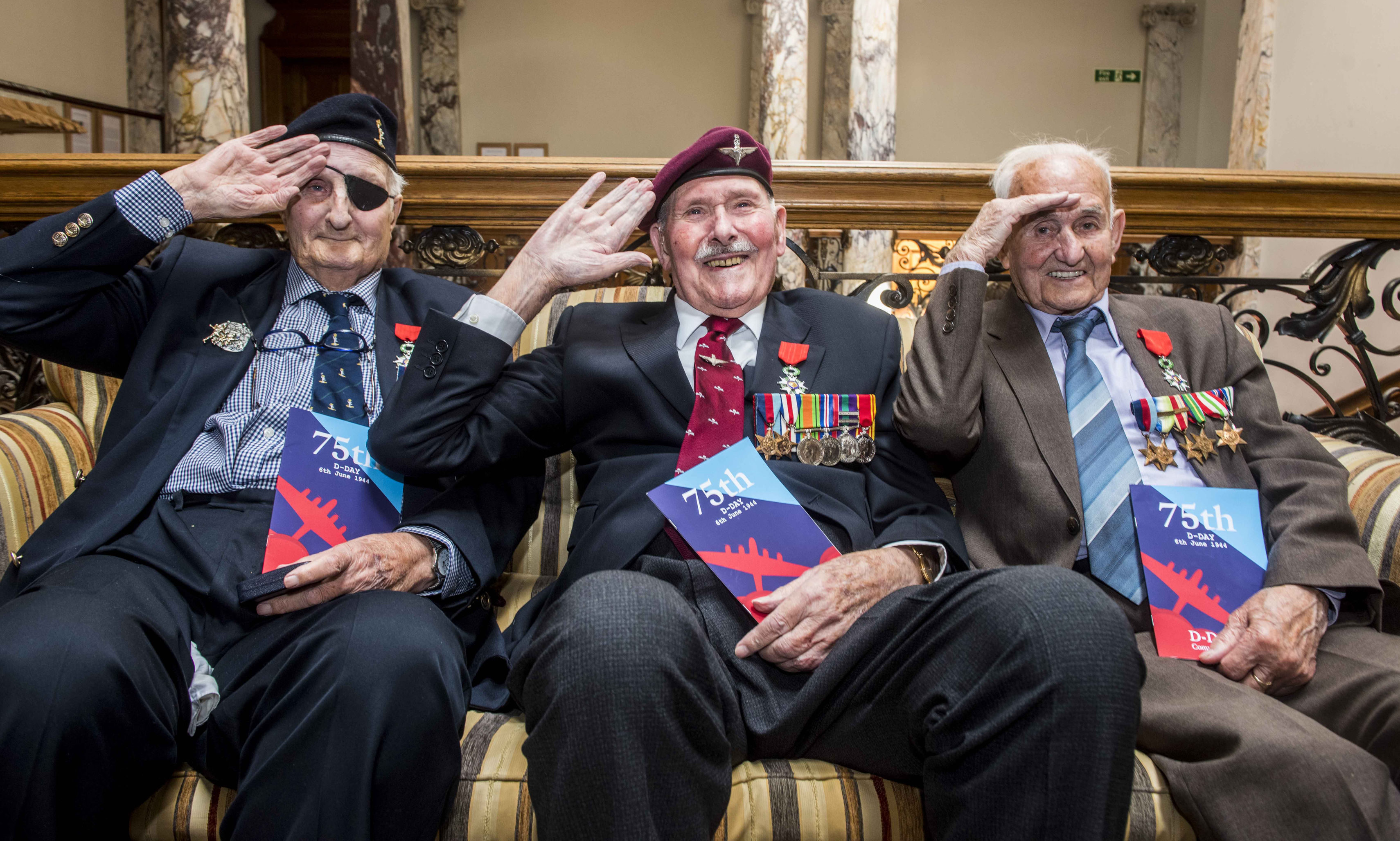 Three recipients of the Knight of the Legion d'Honneur Cross (left to right) Leonard Humphry, Eric Tandy and David Livingston.