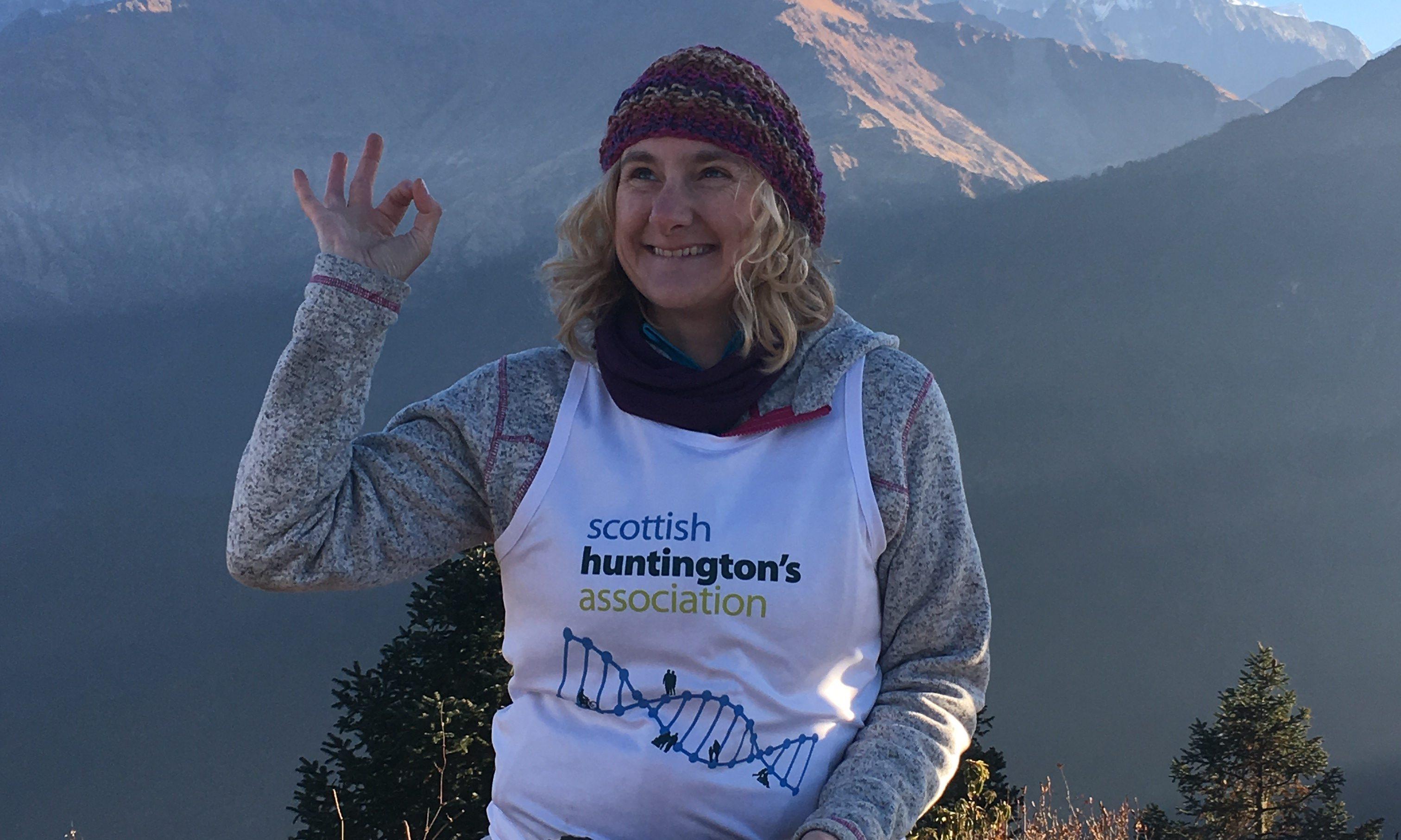 Marie Short, made an MBE, trekked in Nepal to raise money for Scottish Huntingtons Association.