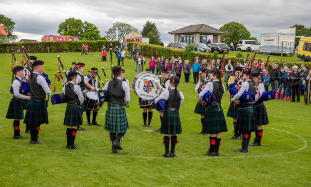 Dundee High School perform in the arena during the Markinch Highland Games.