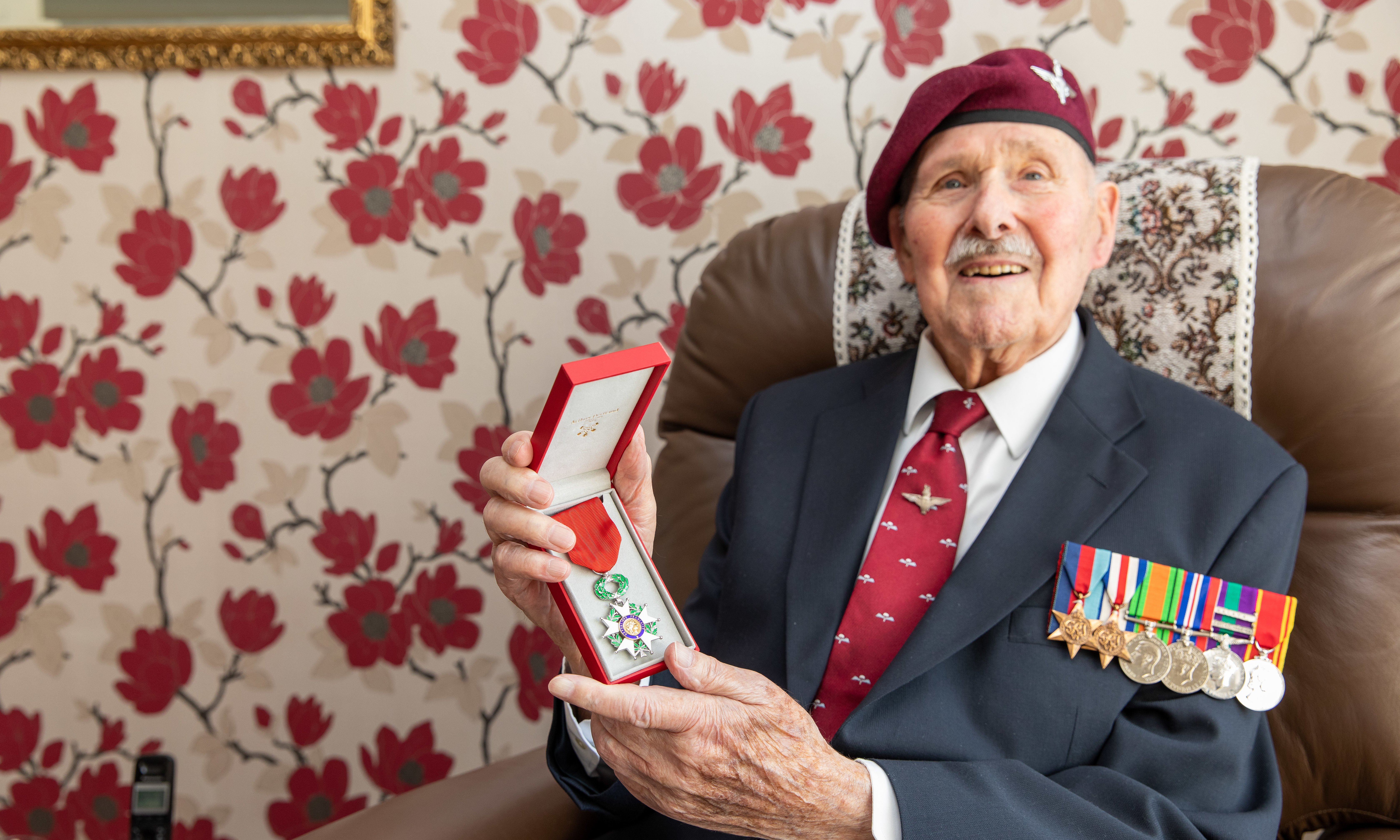Pegasus Bridge liberator Eric Tandy with his Legion d'Honneur at home in Glenrothes in 2019