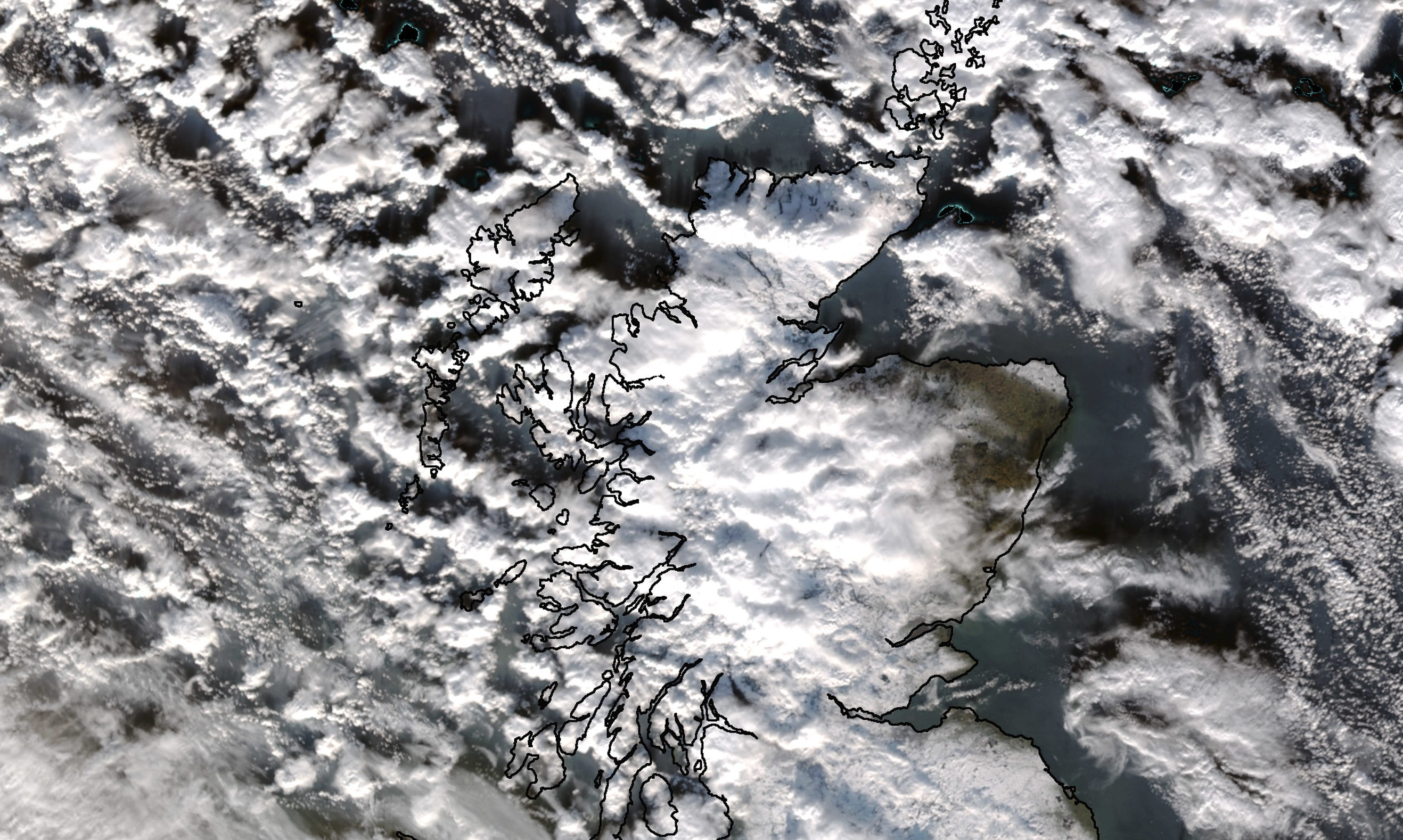 An image of Scotland from space translated by the former Dundee University Satellite Receiving Station