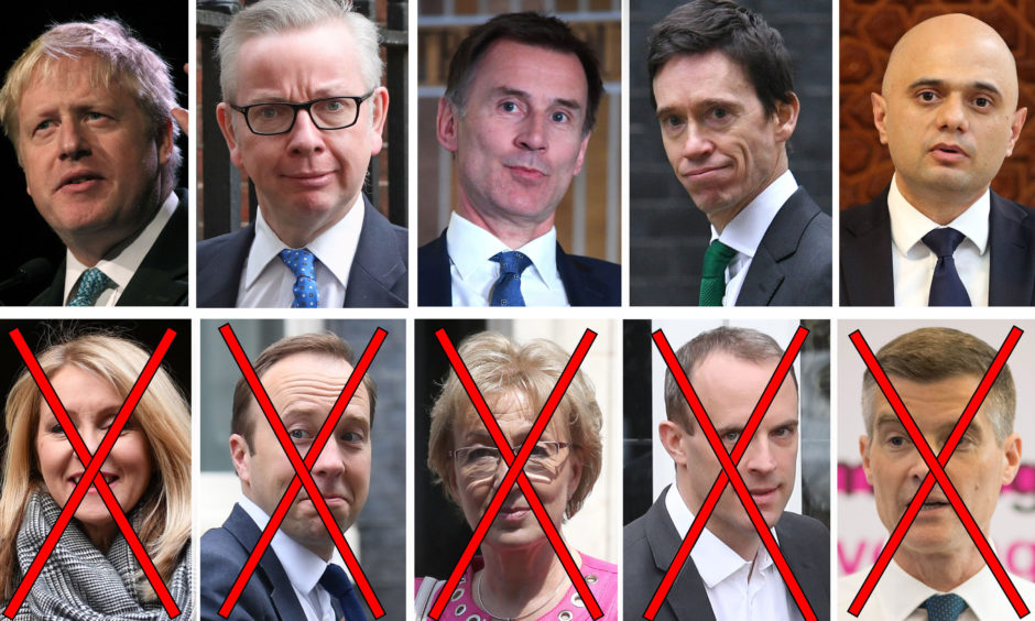 Left to right, top row: Boris Johnson, Dominic Raab, Jeremy Hunt, Rory Stewart, Sajid Javid, (bottom row) Esther McVey, Matt Hancock, Andrea Leadsom, Michael Gove and Mark Harper. (indicated with crosses on face) Health Secretary Matt Hancock is the latest to come out of the Conservative Leadership contest, as he withdrew on Friday morning. Esther McVey, Andrea Leadsom and Mark Harper were previously knocked out of the race following the first ballot on Thursday.