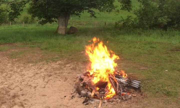 A group of campers left a bonfire raging on the banks of Loch Rannoch