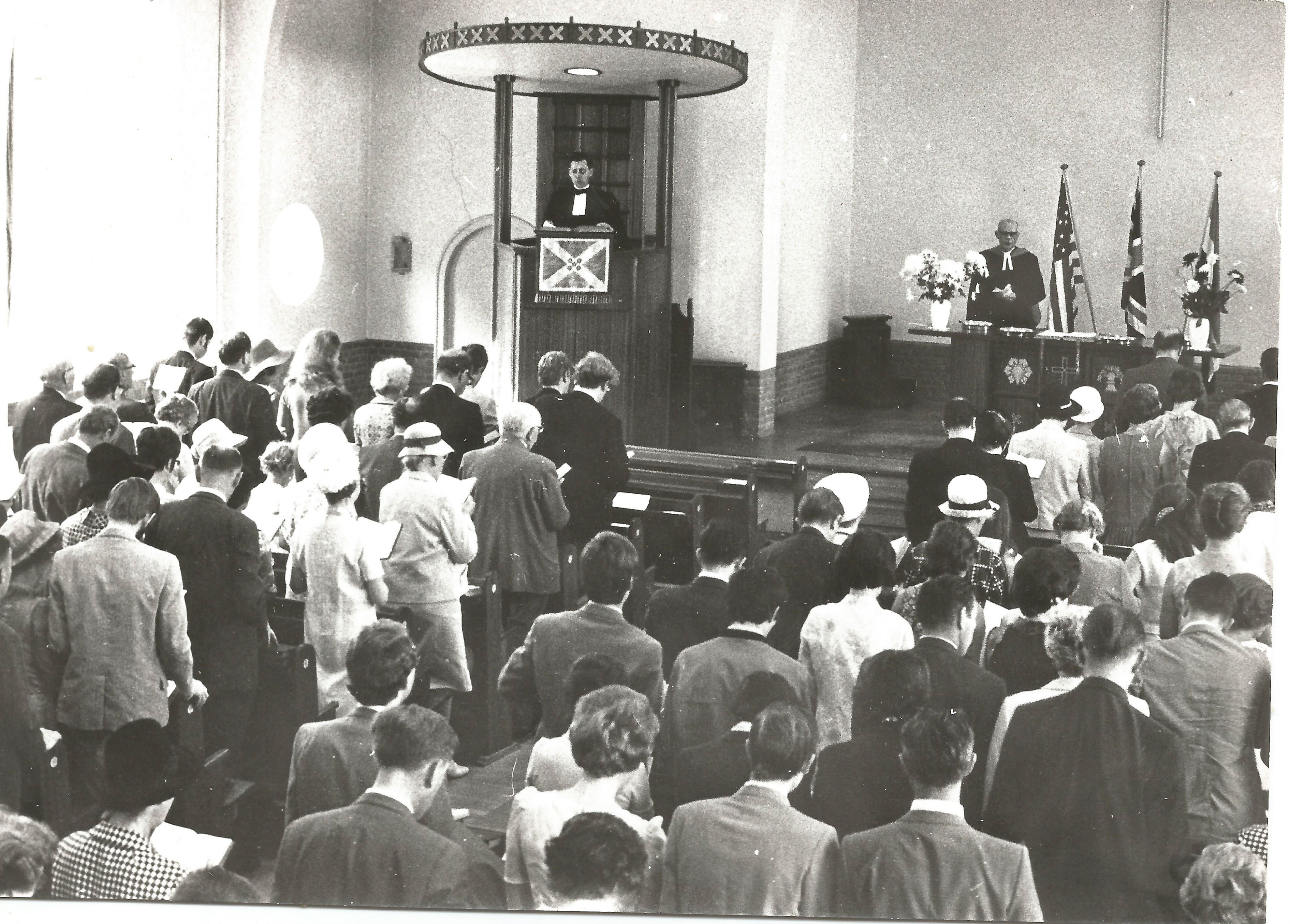 Reverend John Russell in the pulpit of the Scots Kirk in Rotterdam in 1970.
