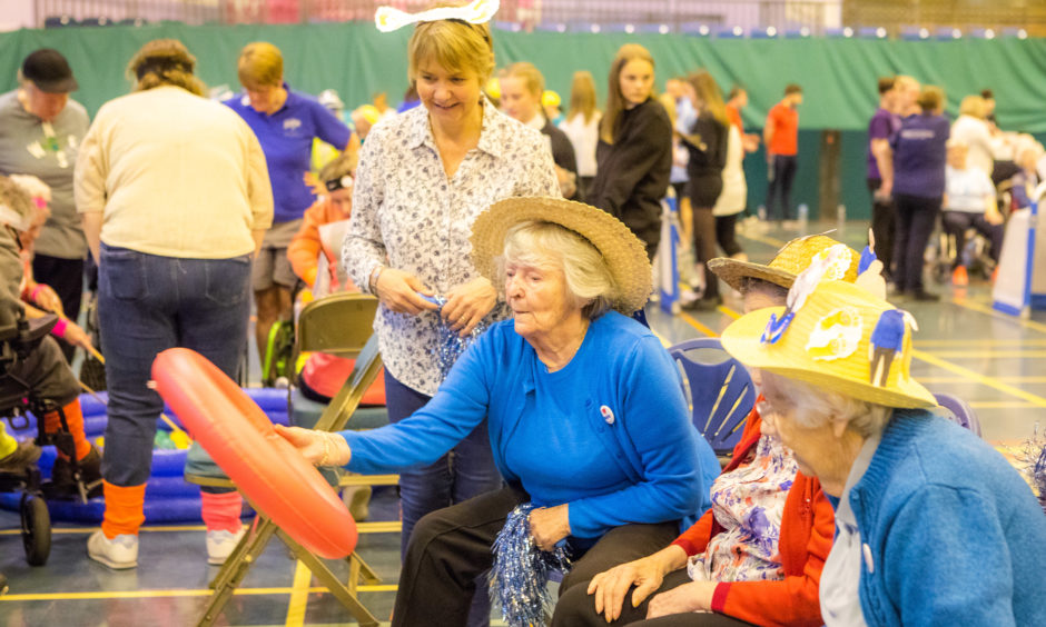 Hope Park Care Home (Blairgowrie) resident Kath during Hoopla event.
