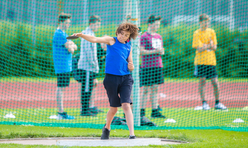 Jake Robinson (Primary 6 from Milnathort Primary School) during the discus.