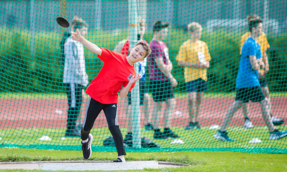 Liam McLaughlan (Primary 6 from Tulloch Primary School, Perth) during the discus.