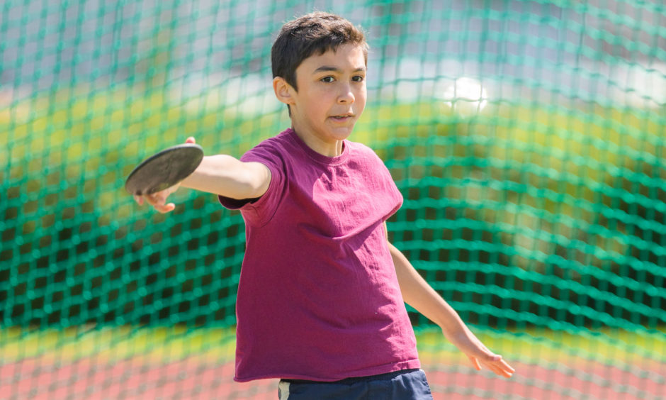 Isaac MacGregor (Primary 6 from Crieff Primary School) during the discus.