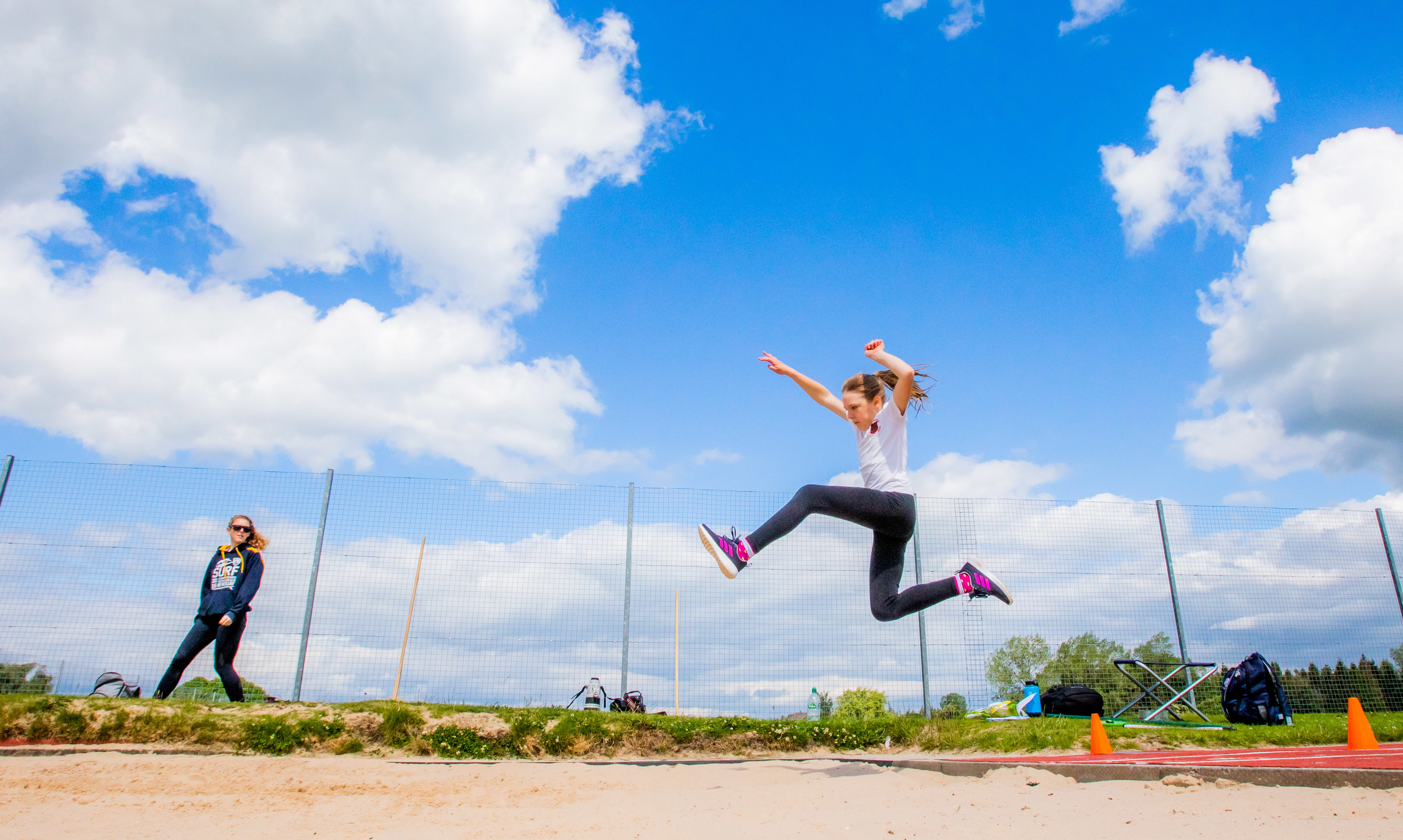 Julia Gray (Primary 7 at St Stephen's RC Primary School in Blairgowrie) during the long jump.