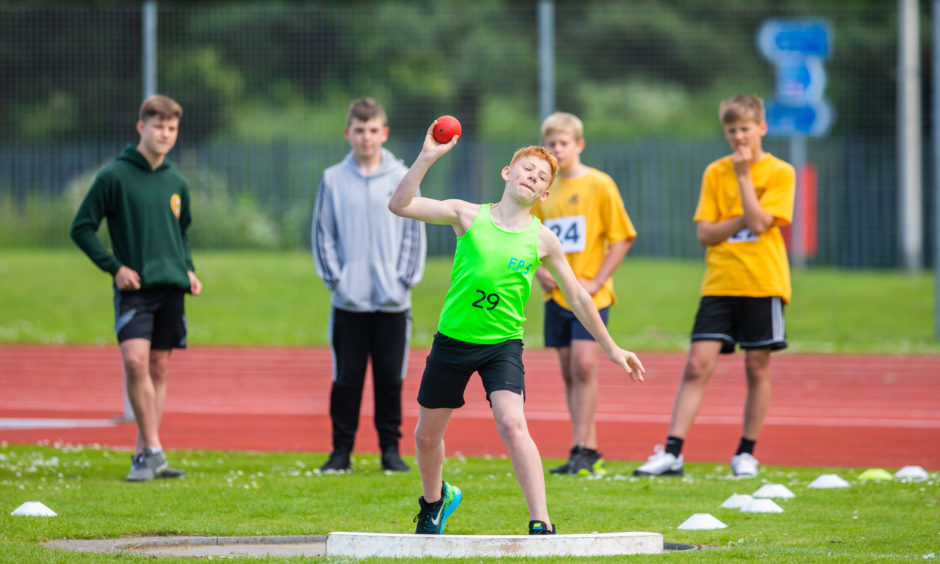 Finlay Trotter (Primary 7 from Fossoway Primary School) during the Shot Put.