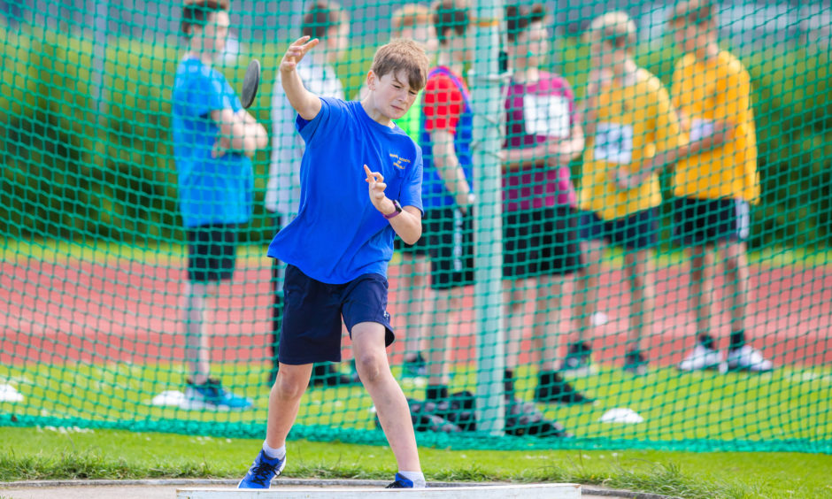 Rowan Walsh (Primary 6 from Royal School of Dunkeld) during the discus. All pictures by Steve MacDougall.