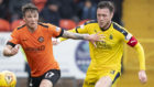 Jordan McGhee, right, in action against Dundee United last season.