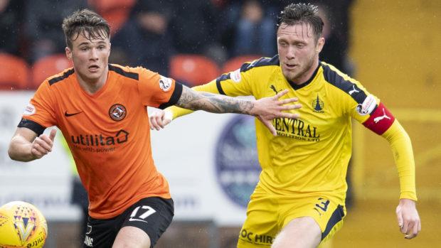 Jordan McGhee, right, in action against Dundee United last season.