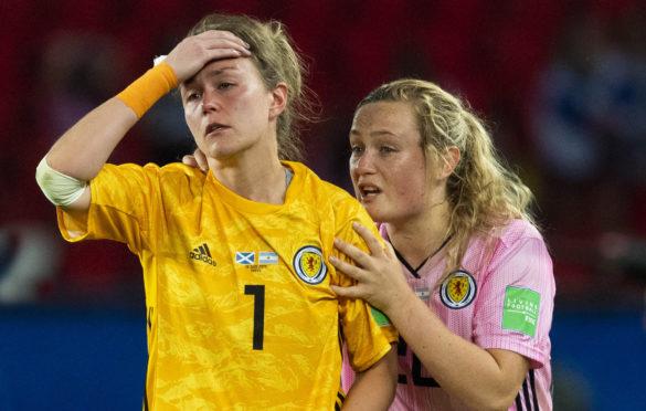 Erin Cuthbert, right, tries to comfort Scotland keeper Lee Alexander.