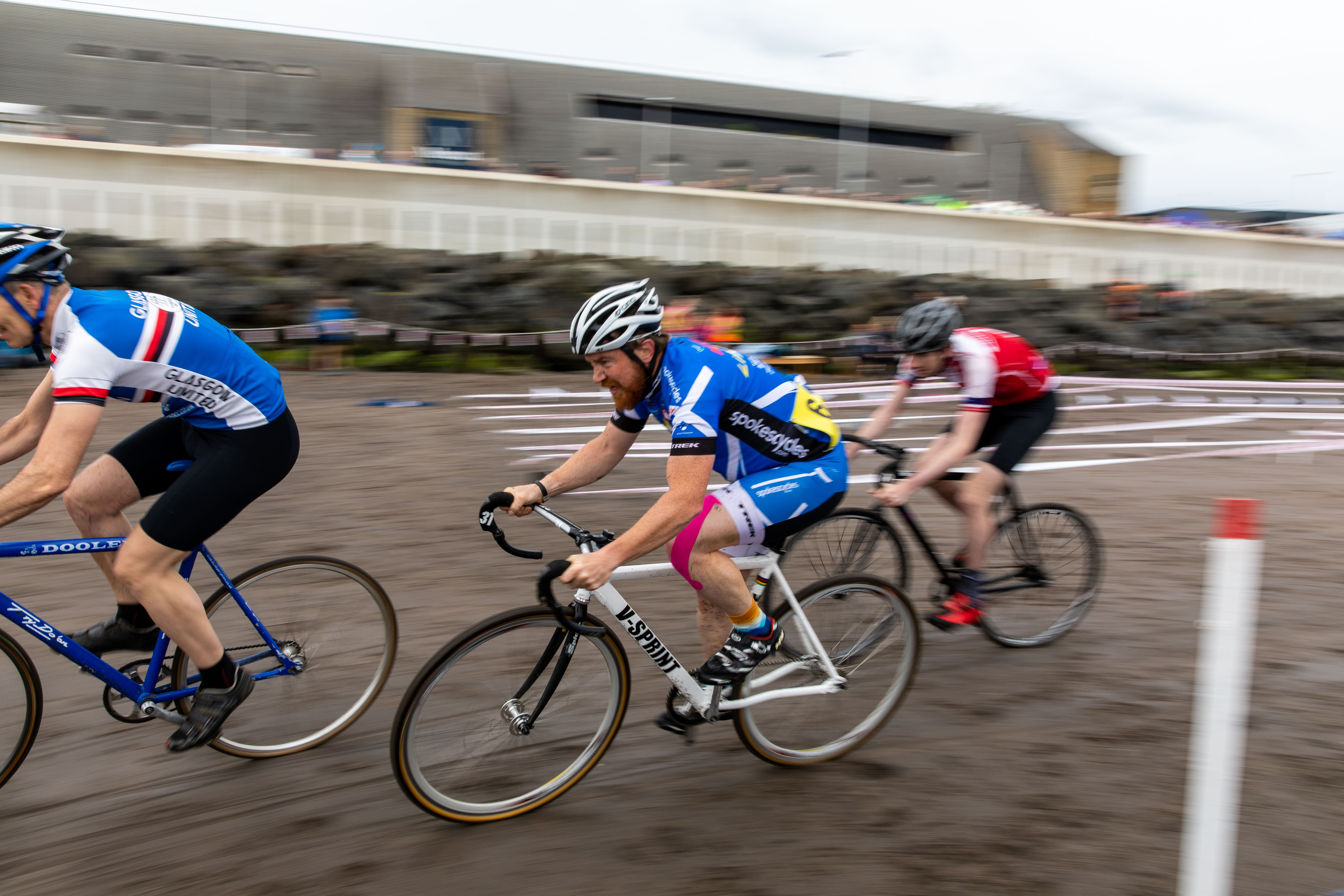 Cyclists in action on the sand at Kirkcaldy Beach Highland Games