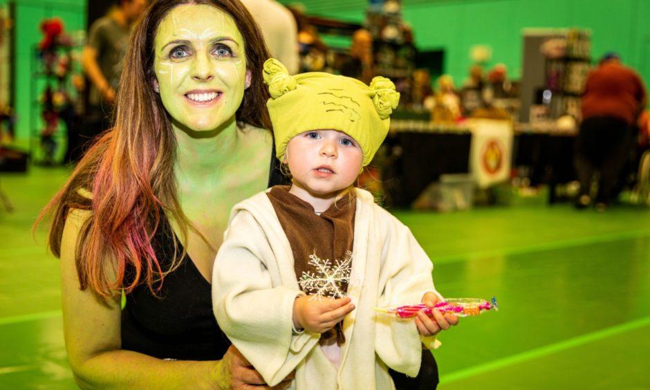 Mum, Louise Watt as Gamora with daughter Grace Watt, 2, as Yoda.