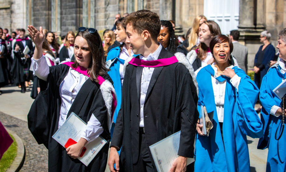 Graduates take part in the procession to St Salvators Quad. Pictures by Steve Brown / DCT Media