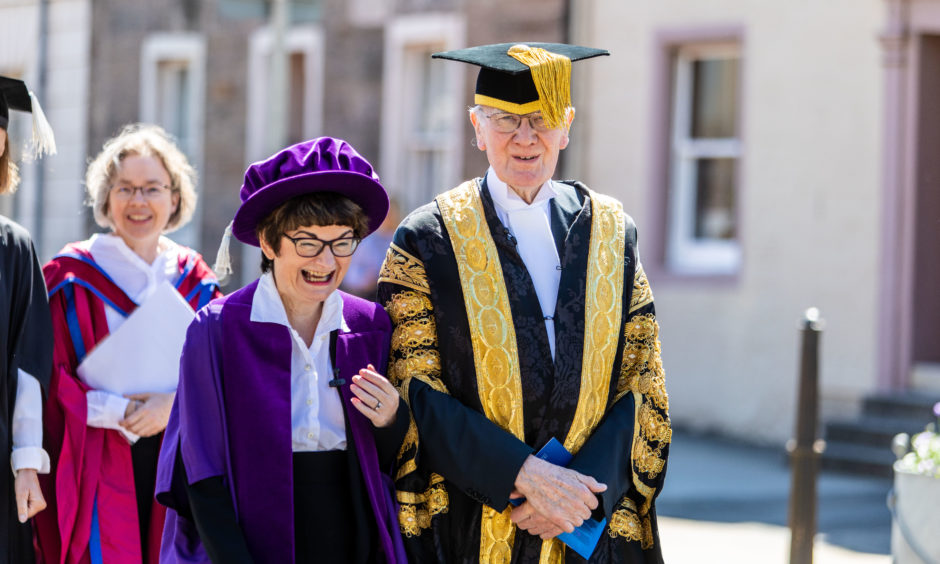 Professor Sally Mapstone and Lord Menzies lead the procession into St Salvators Quad. All pictures by Steve Brown / DCT Media