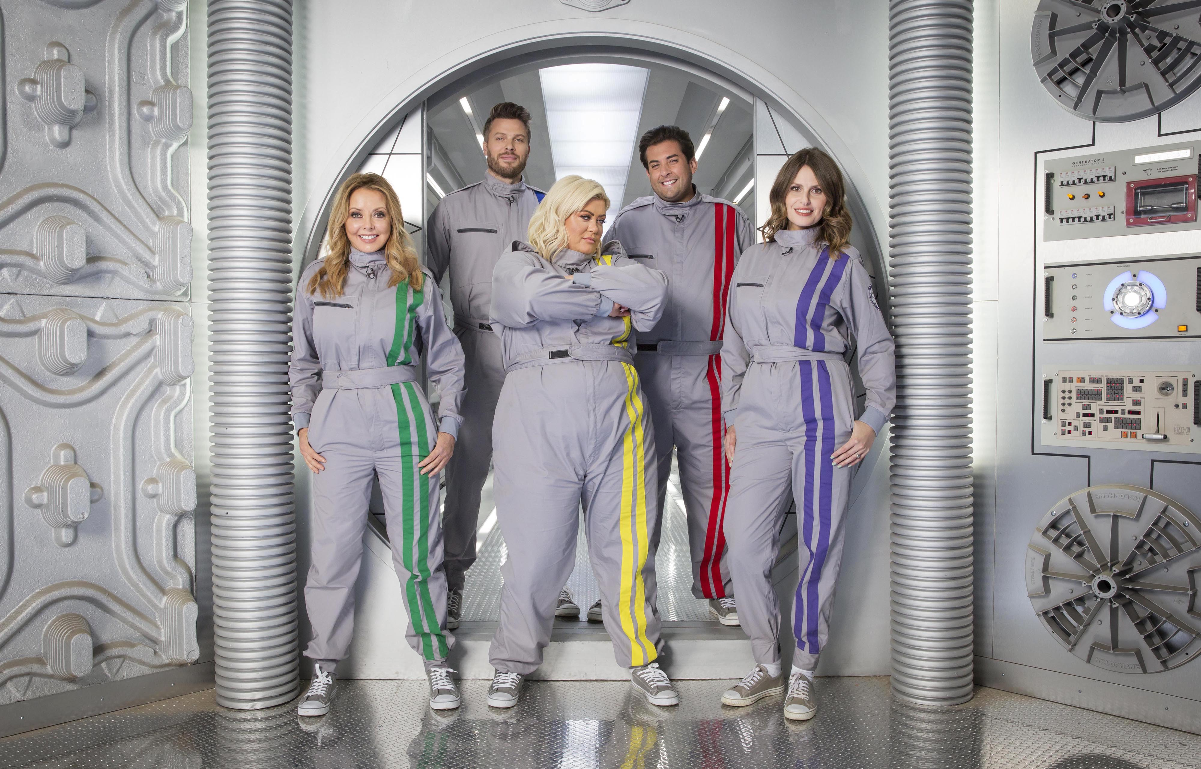 From left: Carol Vorderman, Rick Edwards, Gemma Collins, James Argent and Ellie Taylor.