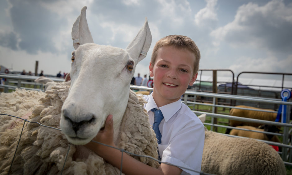 Euan Mill with his champion Purebred Grimmer Sheep.