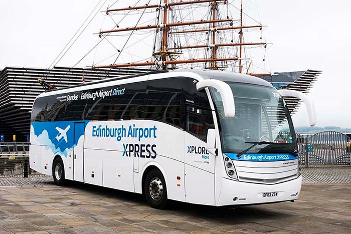 X90 at bus stop XPLORE DUNDEE EDINBURGH AIPORT BUS DIRECT