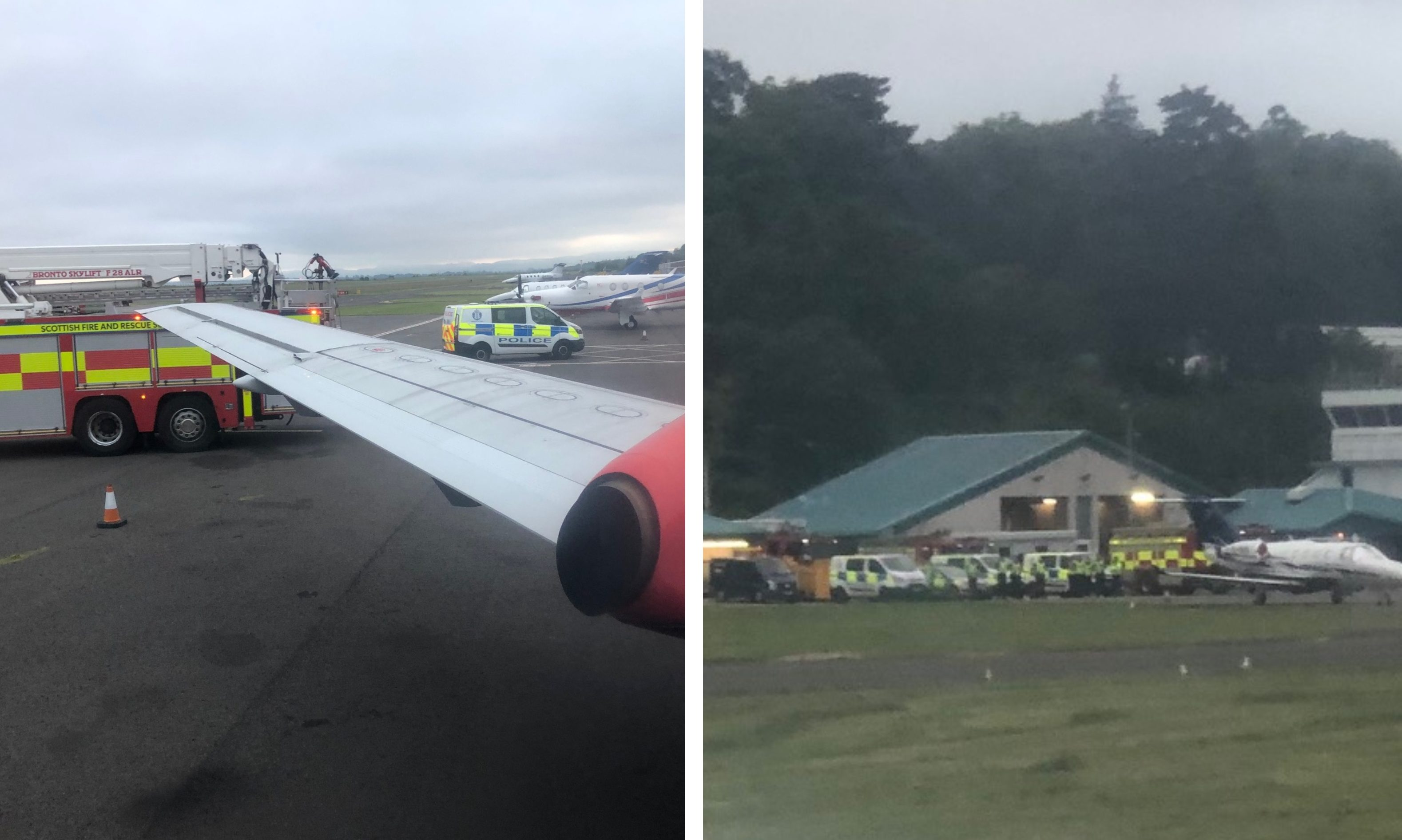 Emergency services at Dundee Airport as the plane lands Pic: Chris Phin