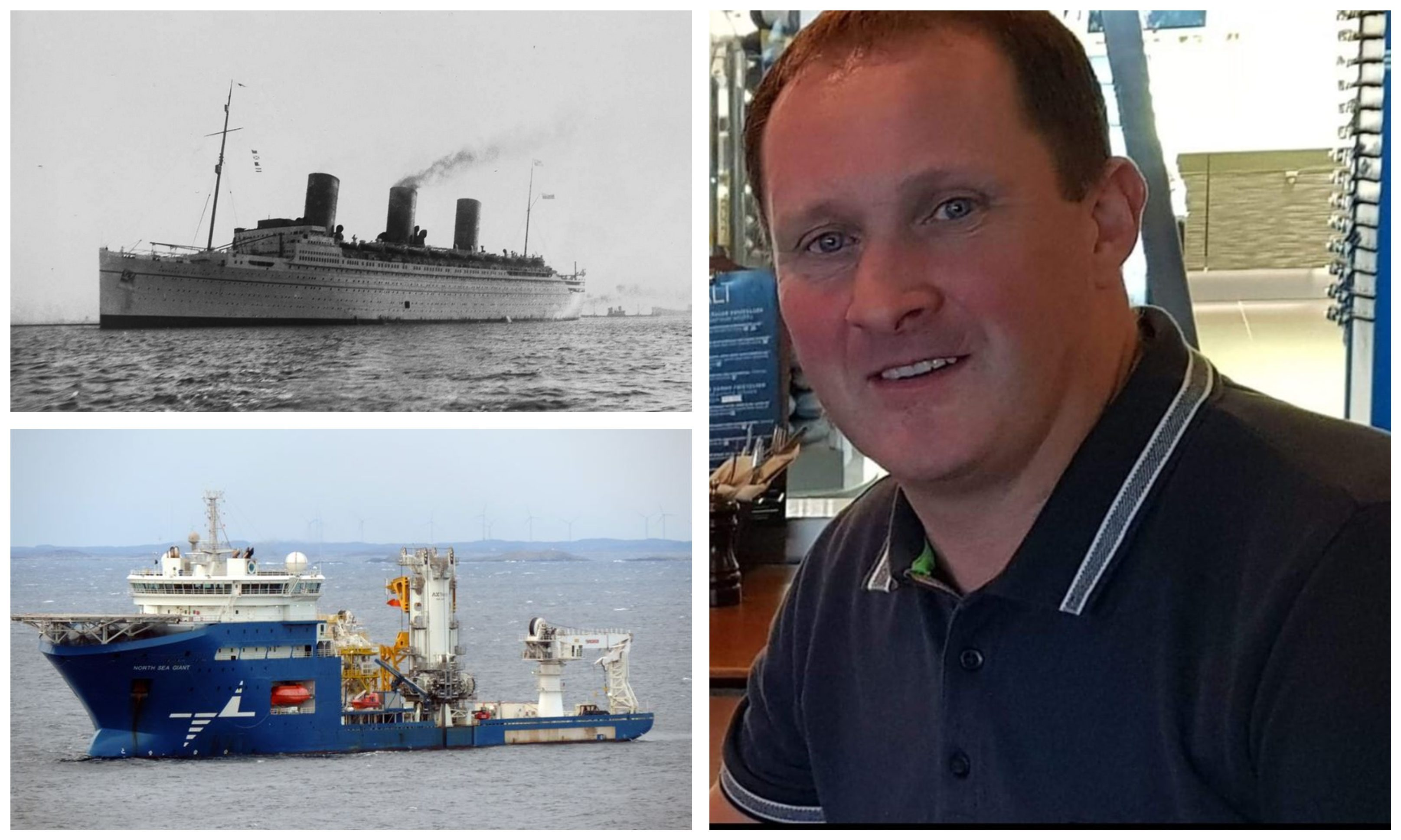 Left: RMS Empress of Britain/North Sea Giant.  Right: Ian Richard.
