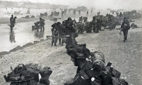 British troops are seen landing on the beaches of Normandy, France on June 6, 1944.